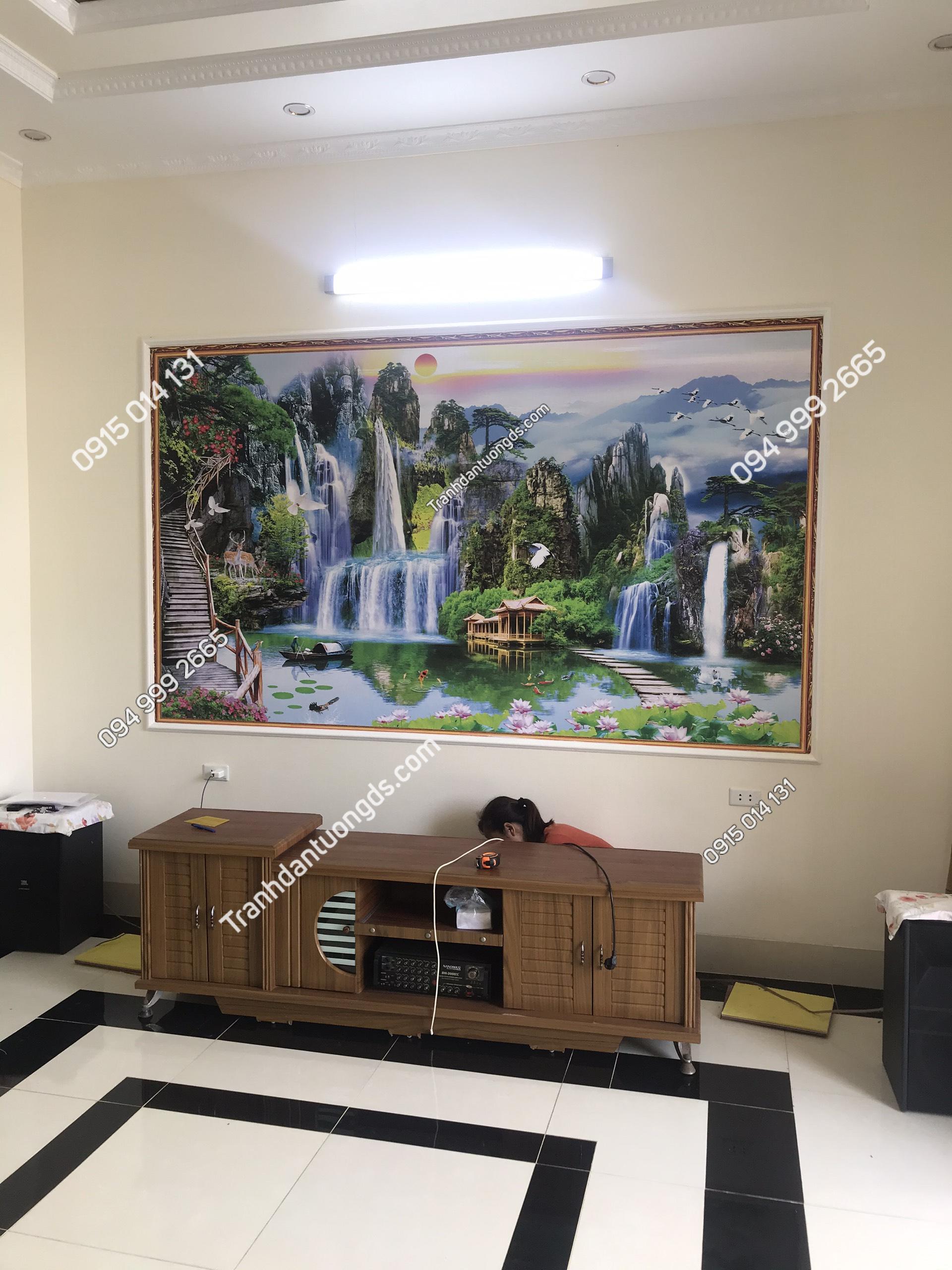 Tranh dán tường sơn thủy phòng khách