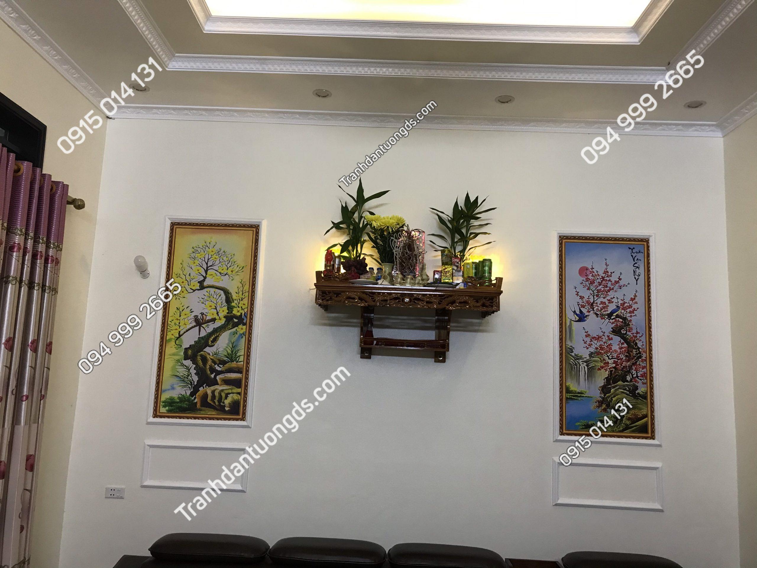 Tranh phòng thờ tùng cúc 5D