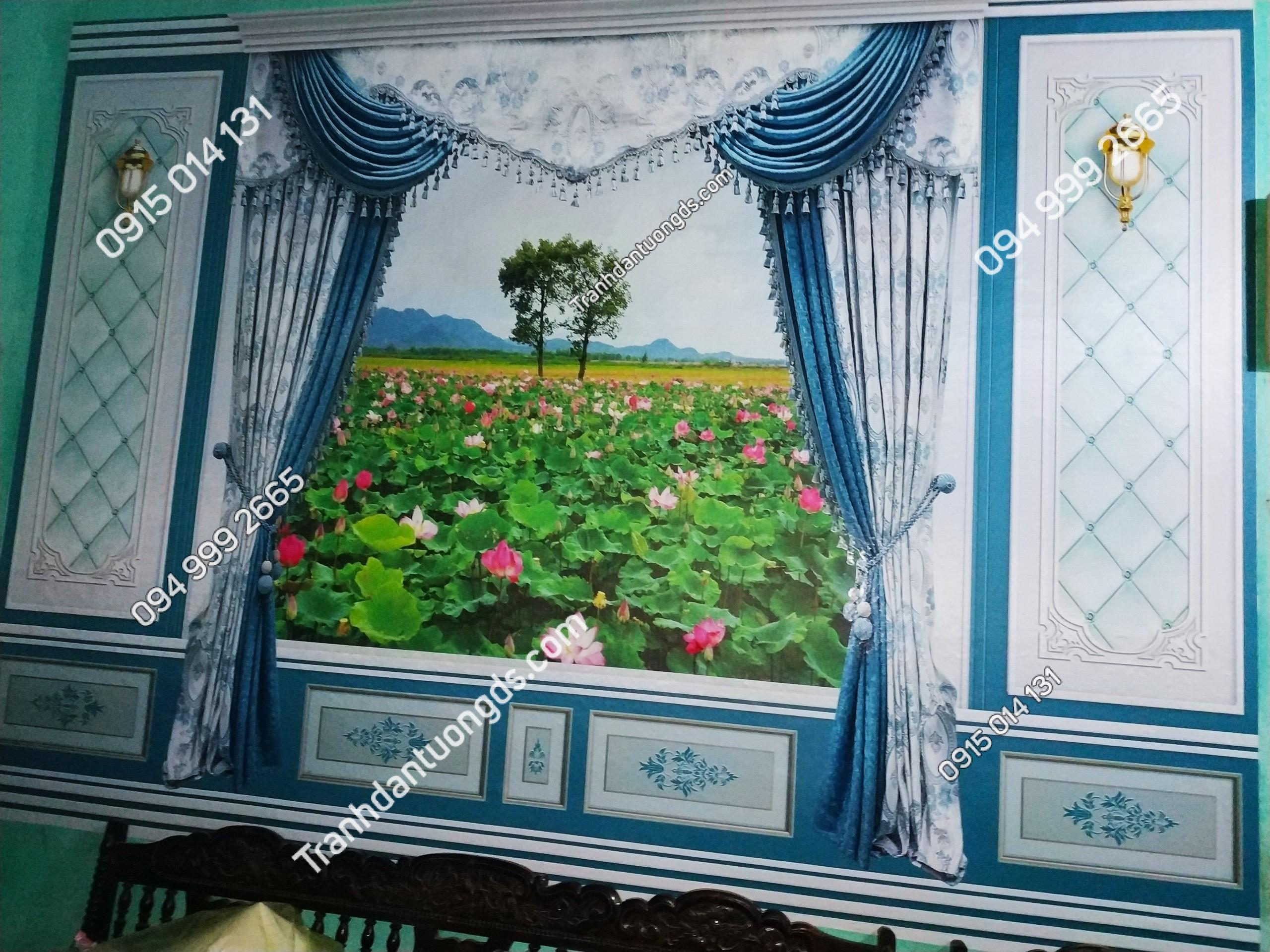 Tranh rèm cửa phong cảnh 5D phòng khách