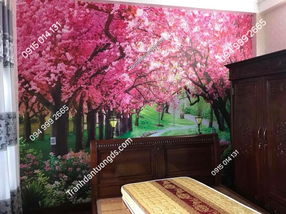 Trannh con đường hoa đào dán phòng ngủ