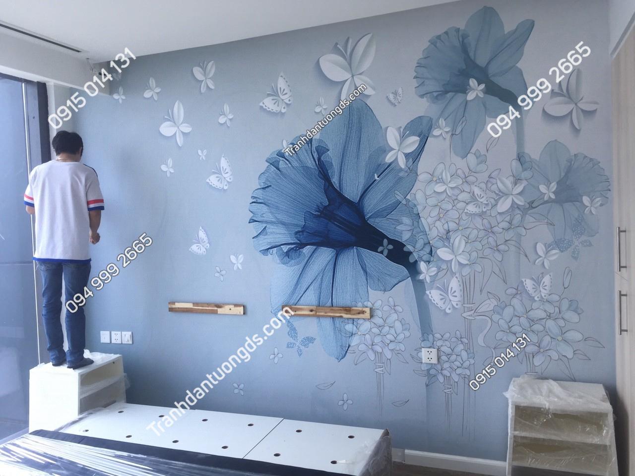 Tranh dán tường hoa 3D phòng ngủ