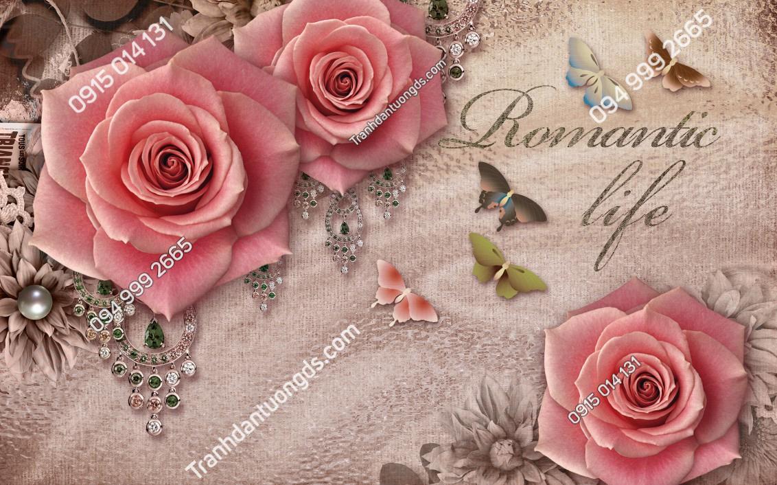 Tranh dán tường hoa hồng dán phòng ngủ