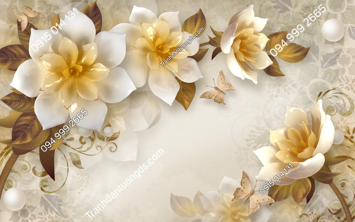 Tranh dán tường hoa 3D giả ngọc