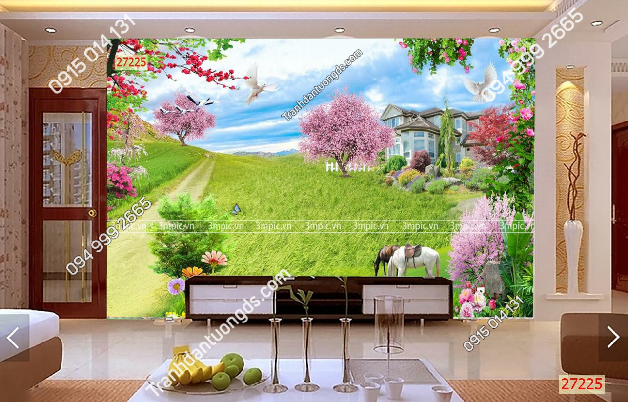 Tranh dán tường 3D phong cảnh phòng khách
