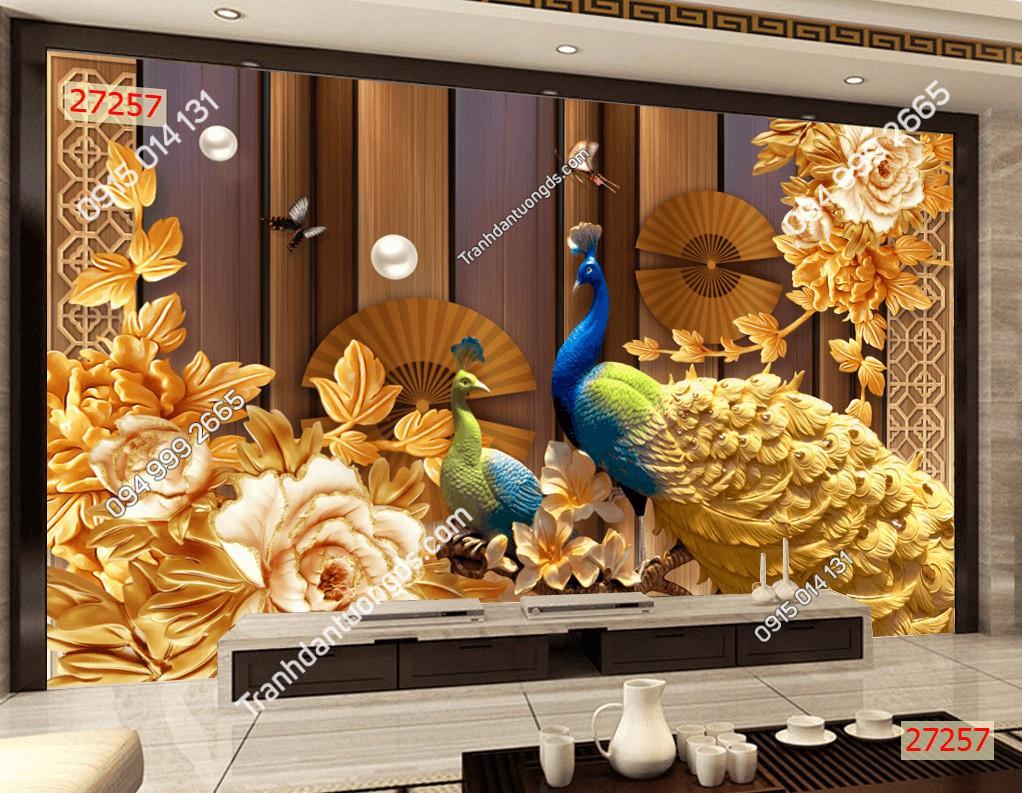 Tranh chim công 5D dán phòng khách