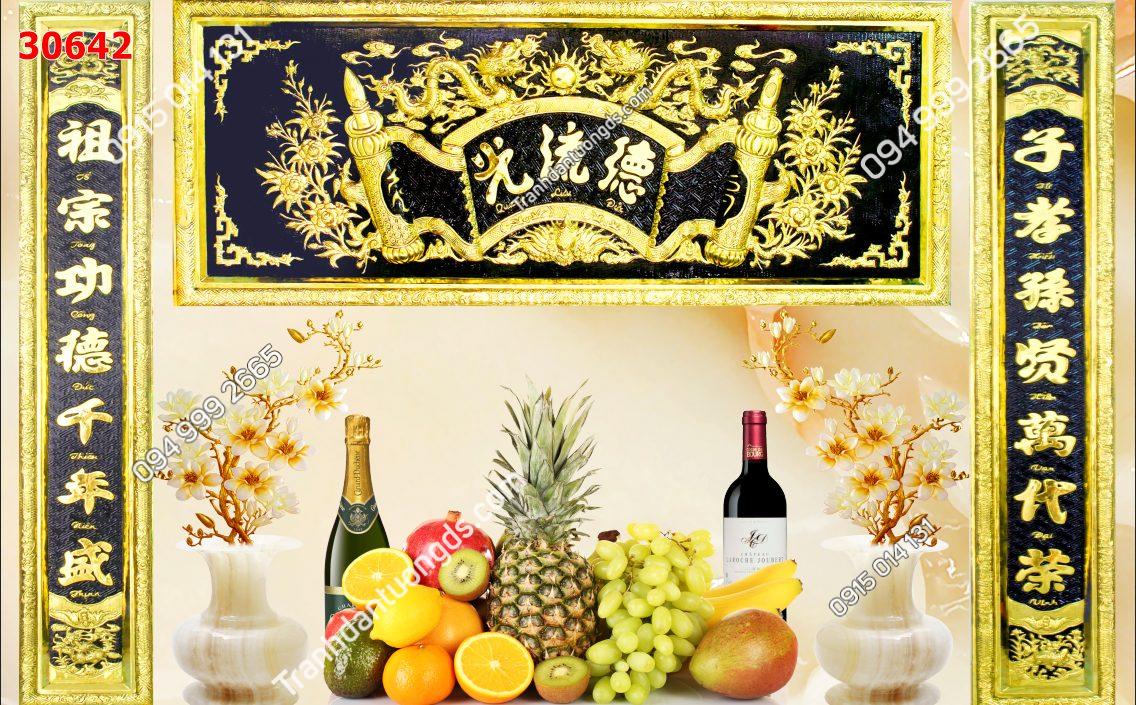 Tranh dán tường phòng thờ hoành phi hoa quả