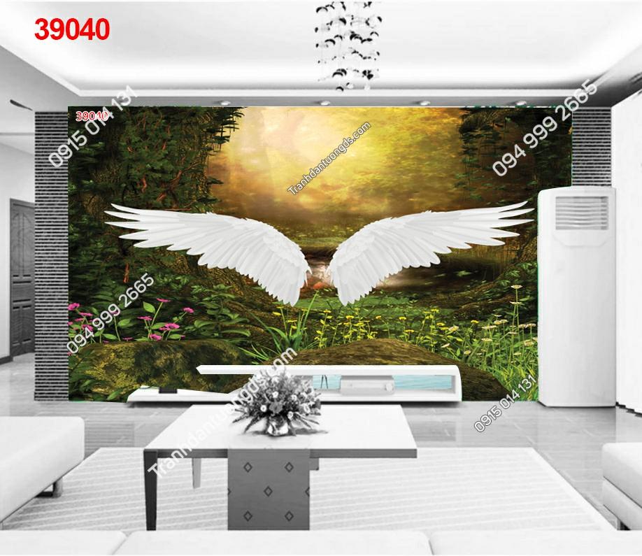 Tranh dán tường cánh thiên thần cho quán cafe
