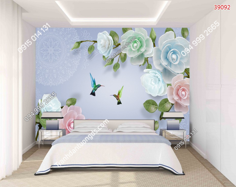 Tranh dán tường hoa 5D dán phòng ngủ