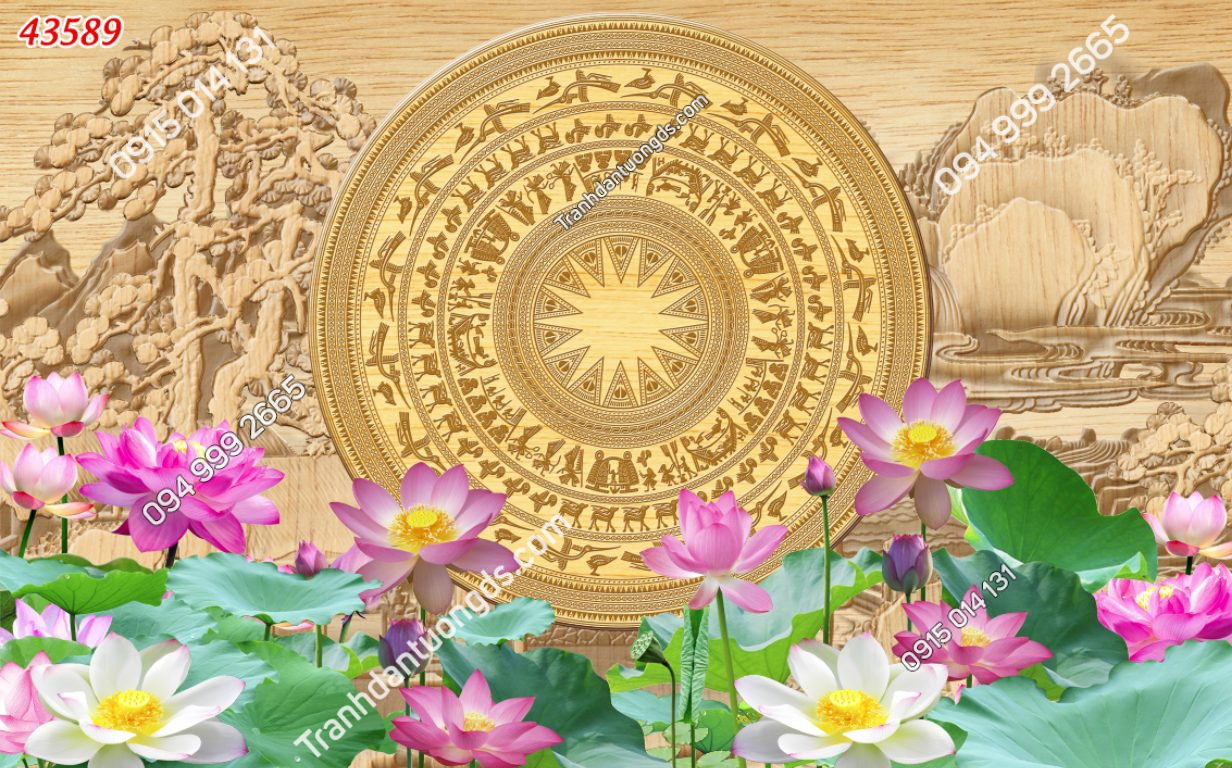 Tranh dán tường phòng thờ trống đồng hoa sen