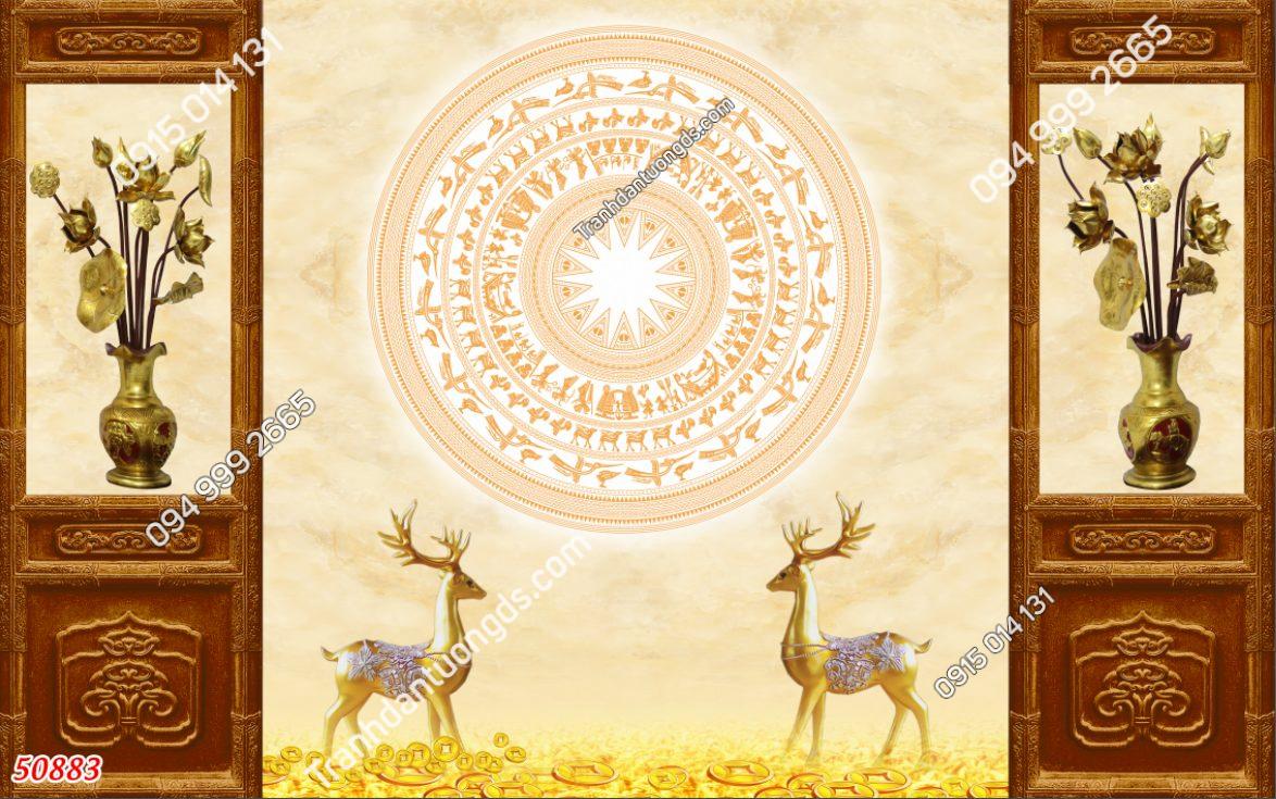 Tranh dán tường phòng thờ trống đồng và hươu
