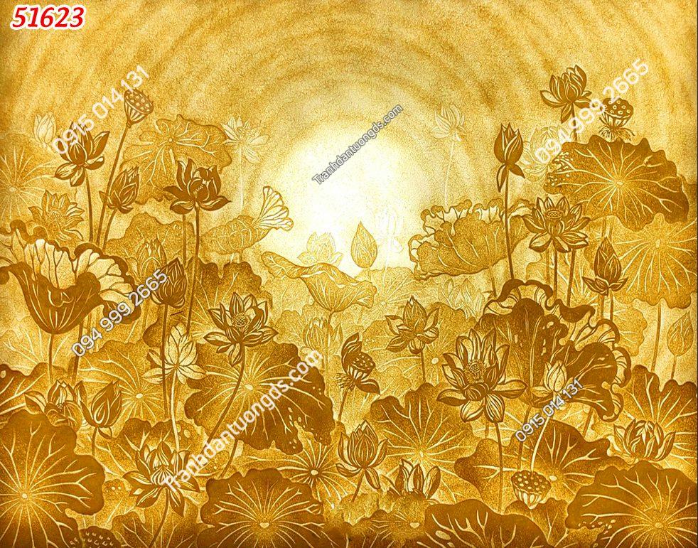 Tranh dán tường hoa sen vàng phòng thờ