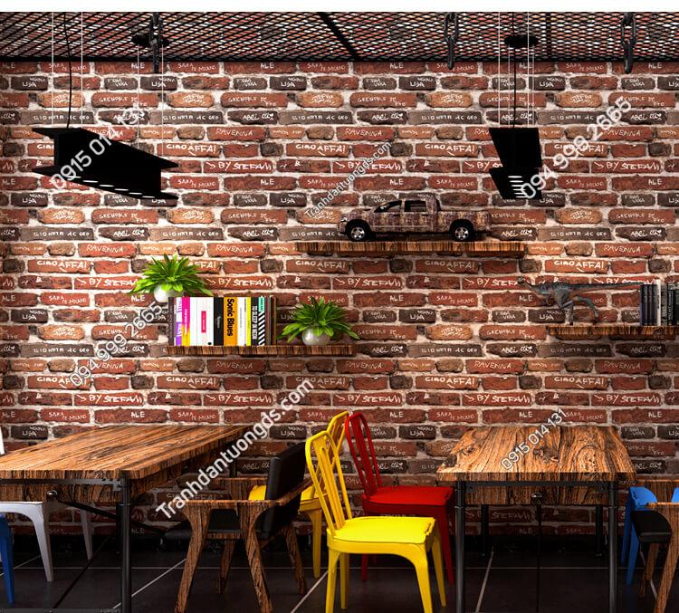 Giấy dán tường giả gạch có chữ 3D287 trang trí quán trà sữa