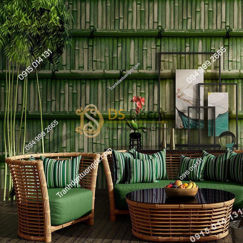 Giấy-dán-tường-giả-tường-tre-xưa-3D266-màu-xanh-lá-cây