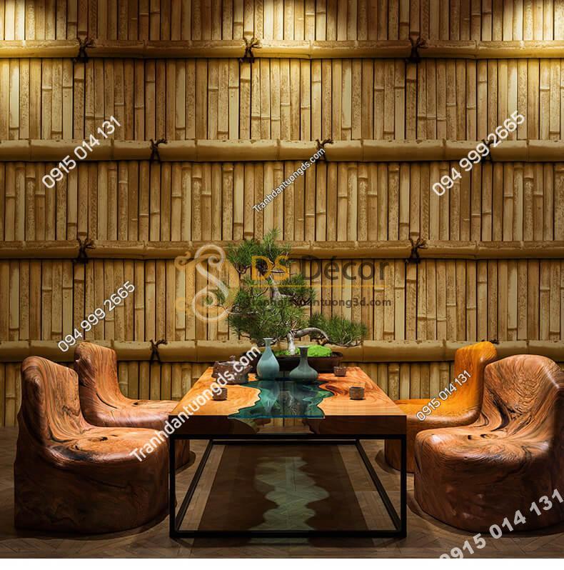 Giấy-dán-tường-giả-tường-tre-xưa-3D266-màu-xanh-nâu-nhạt