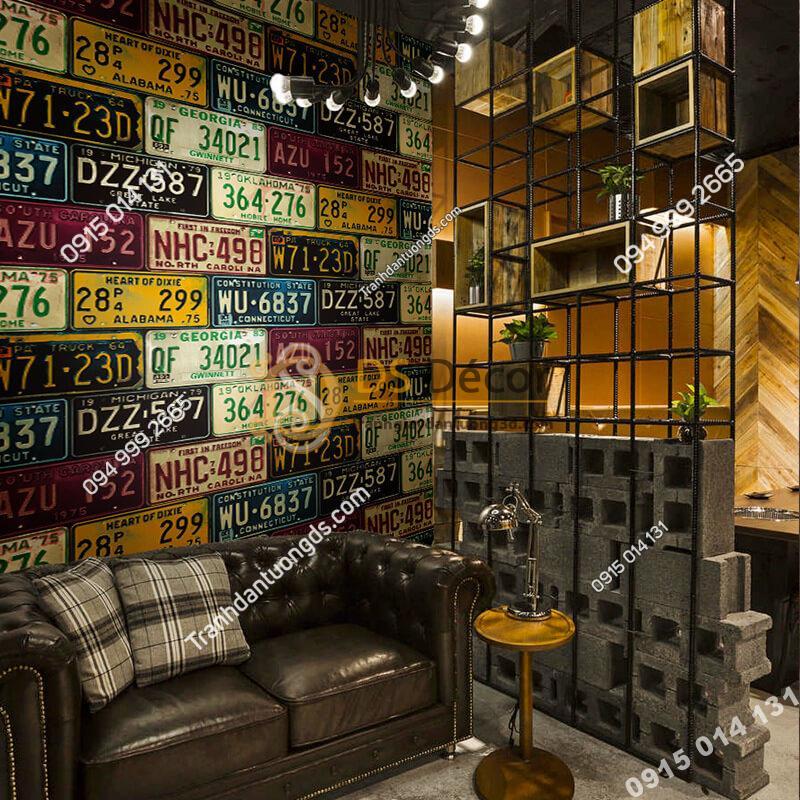 Giấy-dán-tường-họa-tiết-biển-số-xe-cho-quán-cafe-trà-sữa-3D307-màu-sáng-đậm