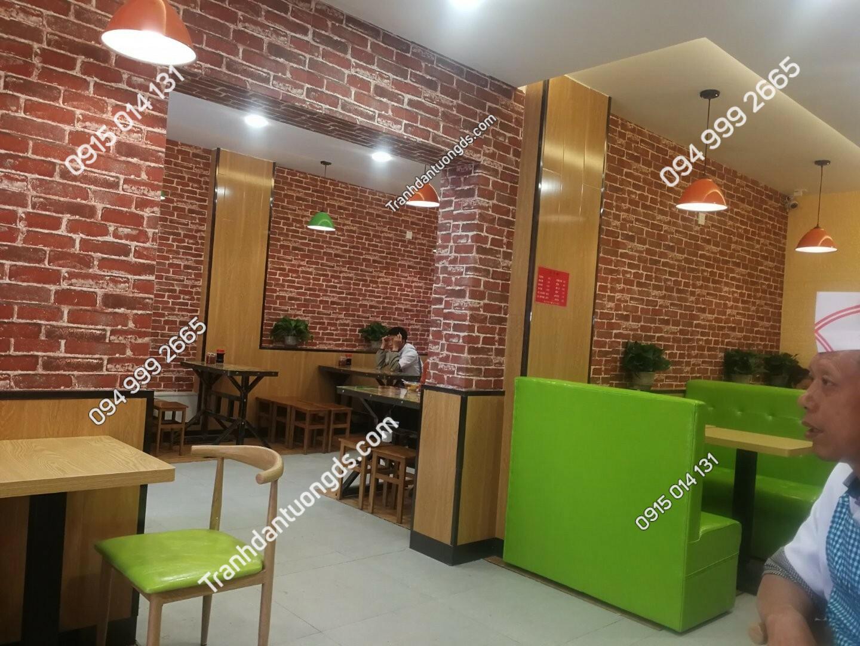 Giấy dán tường giả gạch quán trà sữa