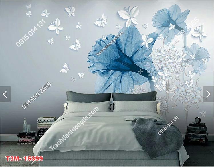 Tranh dán tường hoa 3D dán phòng ngủ