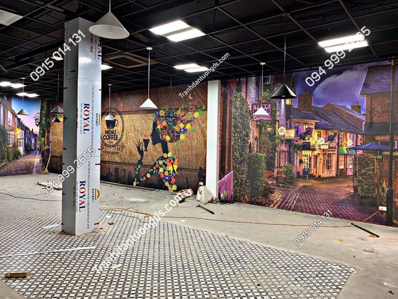 Ảnh thực tế tranh dán tường cafe