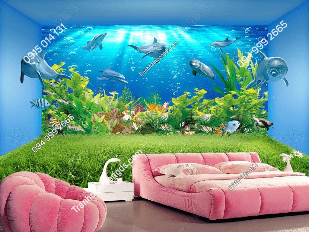 Tranh 3D dưới đáy đại dương phòng khách - DS13895076
