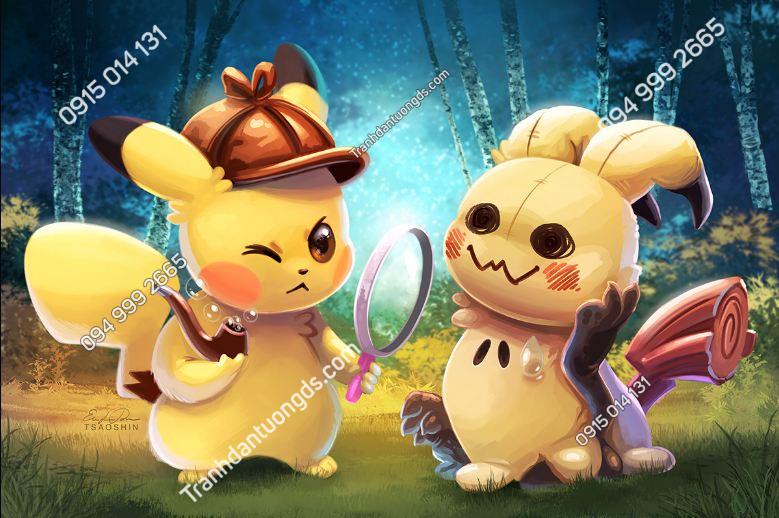 Tranh dán tường Detective Pikachu
