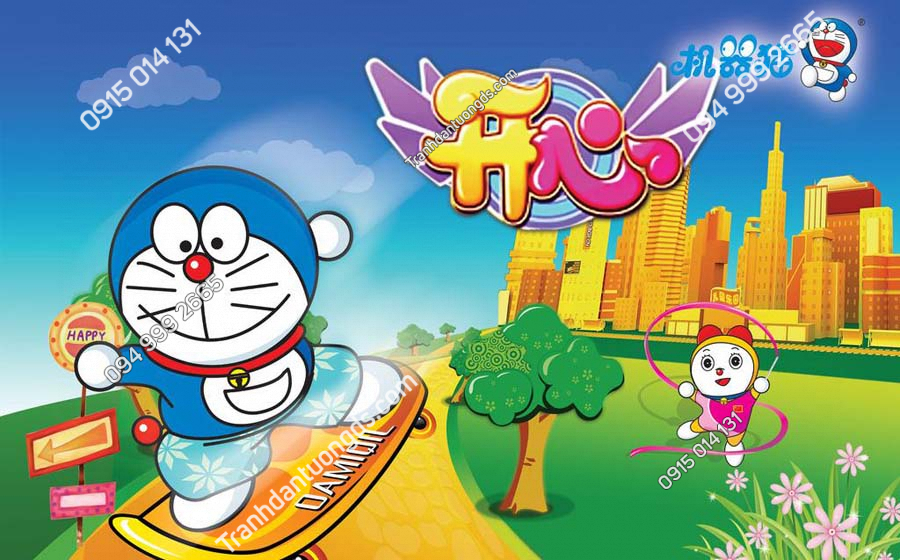 Tranh dán tường Doraemon và Doraemi TE201