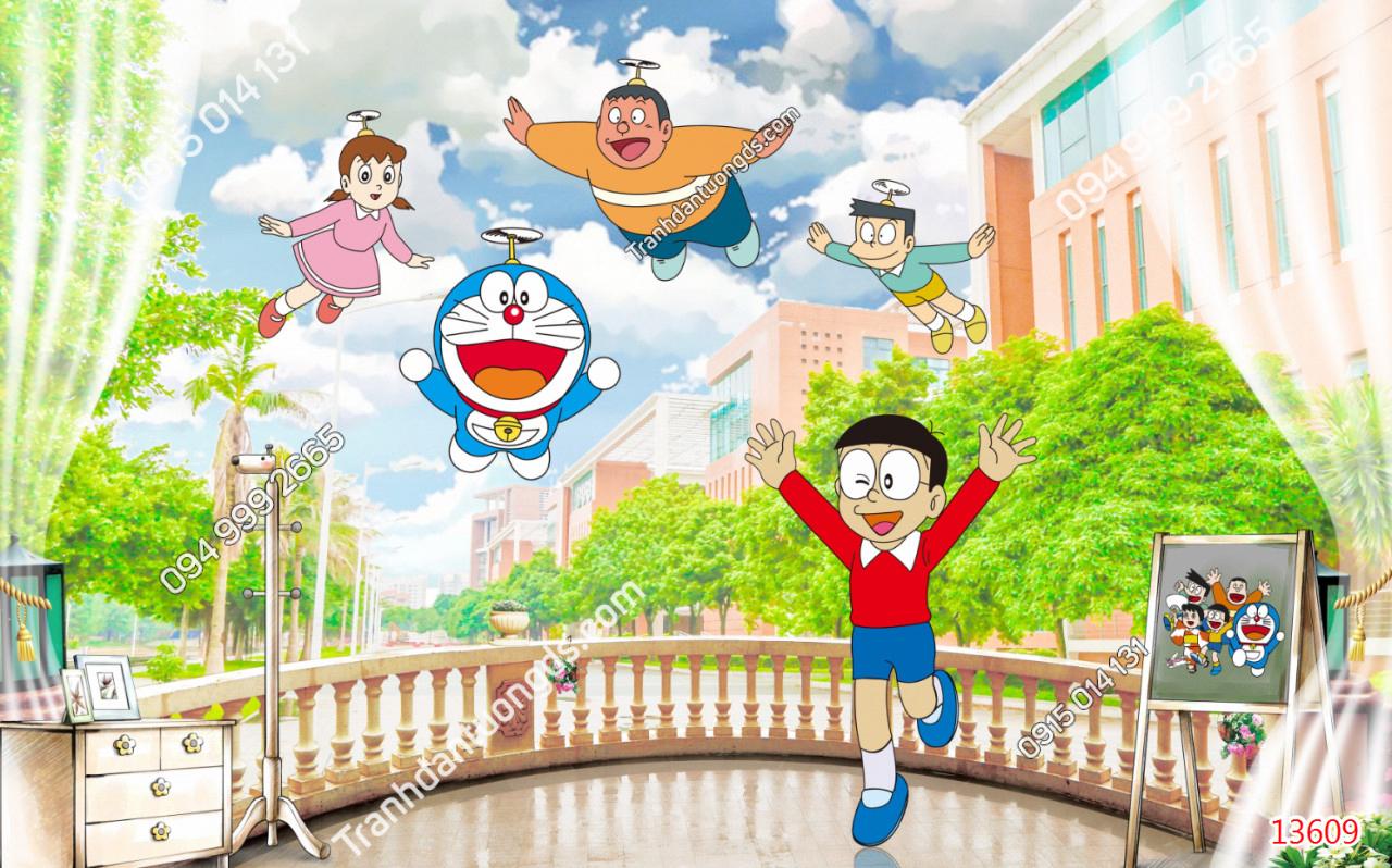 Tranh dán tường Doraemon và những người bạn - 13609 demo
