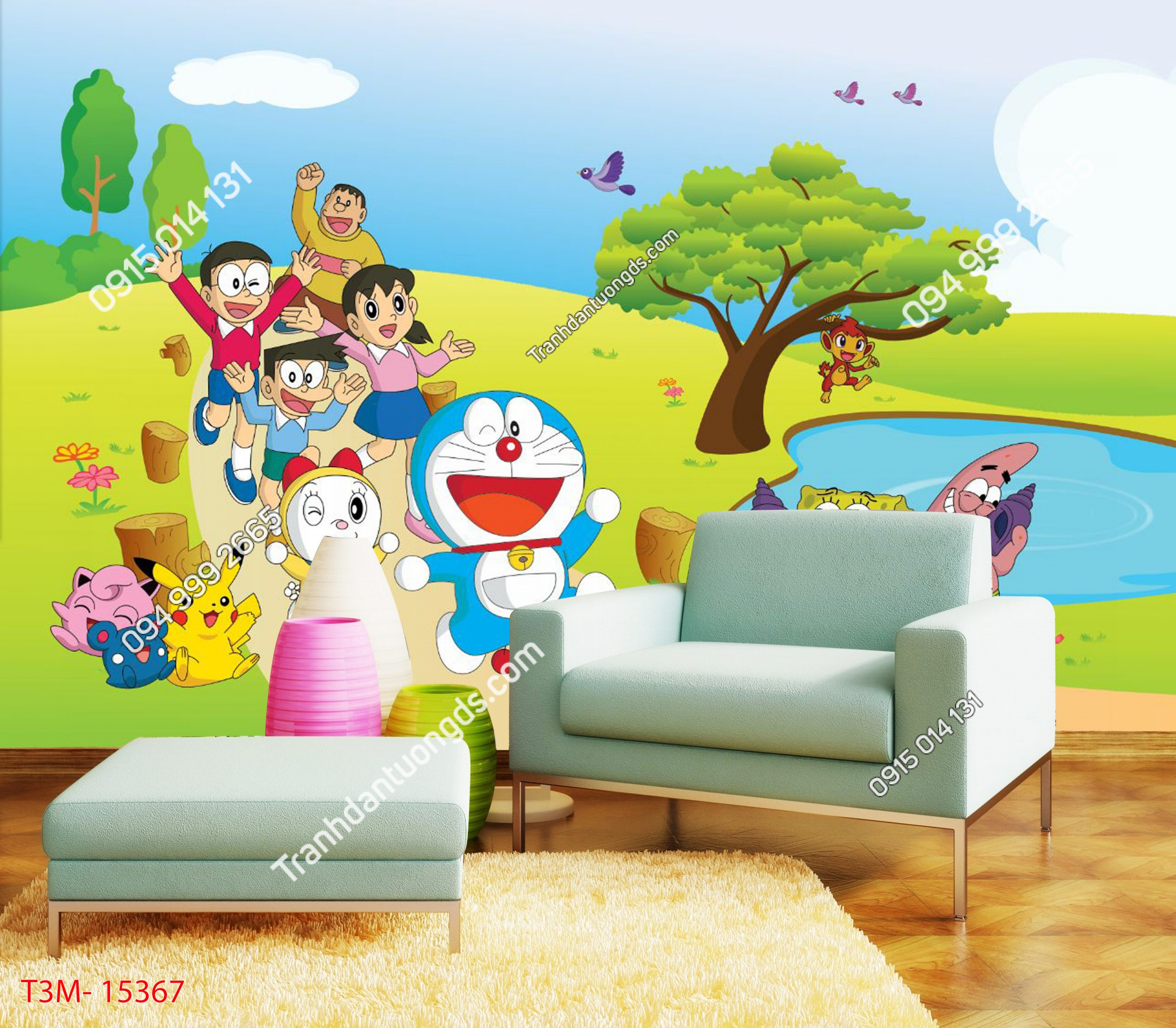 Tranh dán tường Doraemon và những người bạn - 15367 DEMO