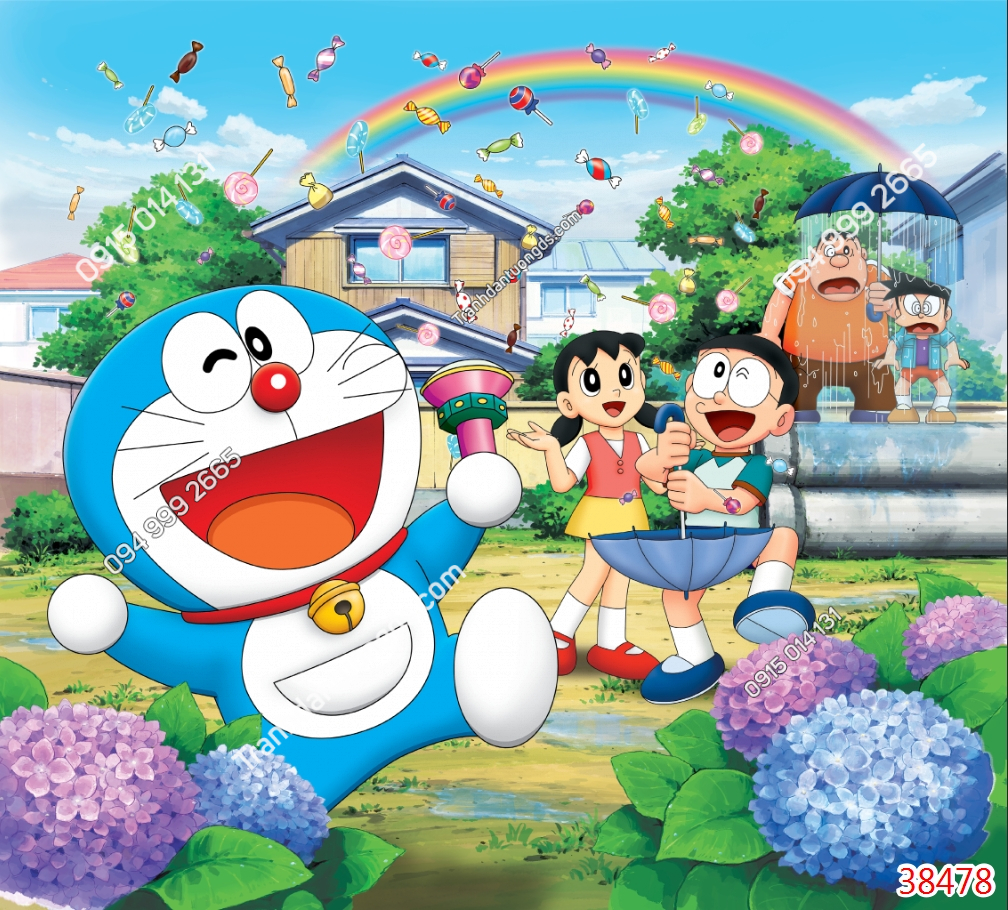Tranh dán tường Doraemon và những người bạn 38478