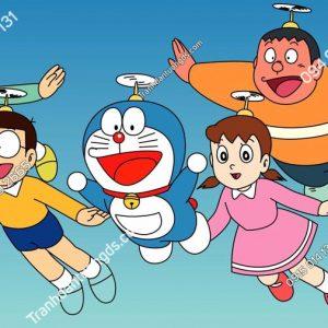 Tranh dán tường Doraemon và những người bạn bay chong chóng tre TE220