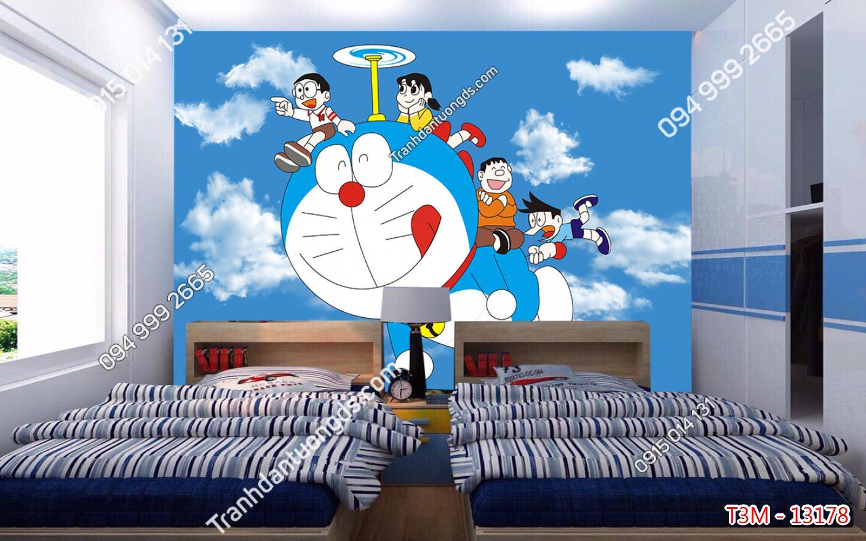 Tranh dán tường Doraemon và những người bạn dán phòng bé - 13178 demo