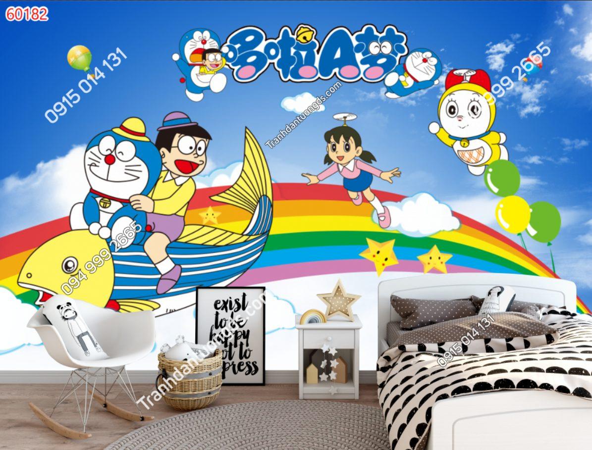 Tranh dán tường Doraemon và những người bạn dán phòng ngủ demo 60182