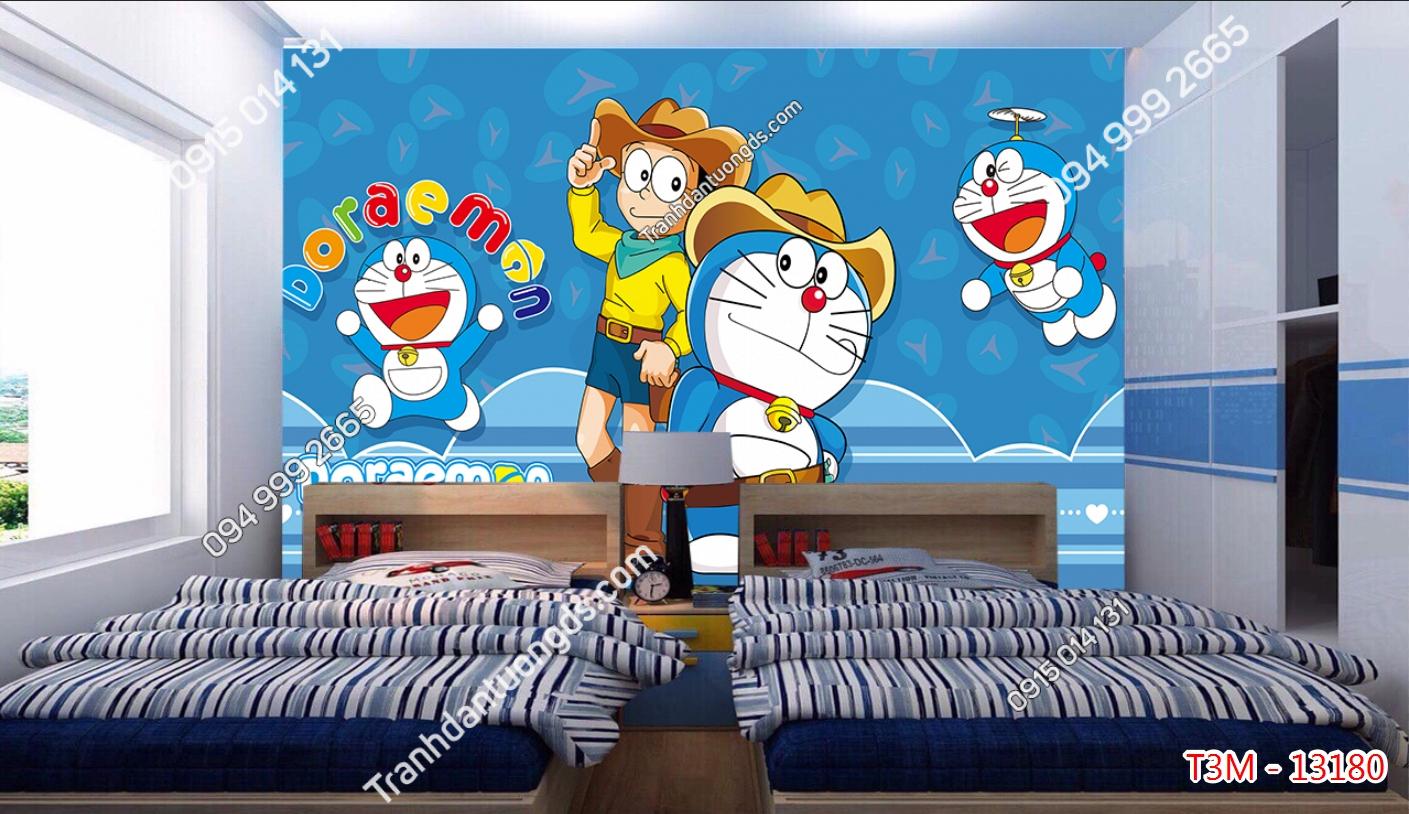 Tranh dán tường Doraemon và những người bạn dán phòng trẻ em - 13180 demo