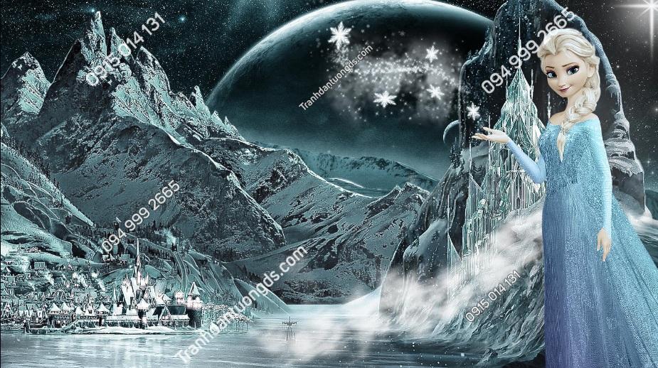 Tranh dán tường Elsa Snow Night 3