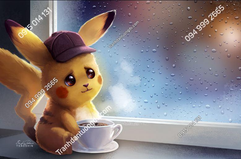 Tranh dán tường Pikachu Coffe