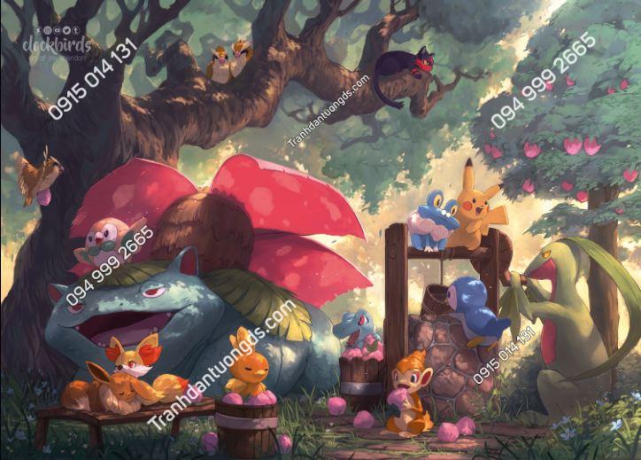 Tranh dán tường Pokemon Picnic