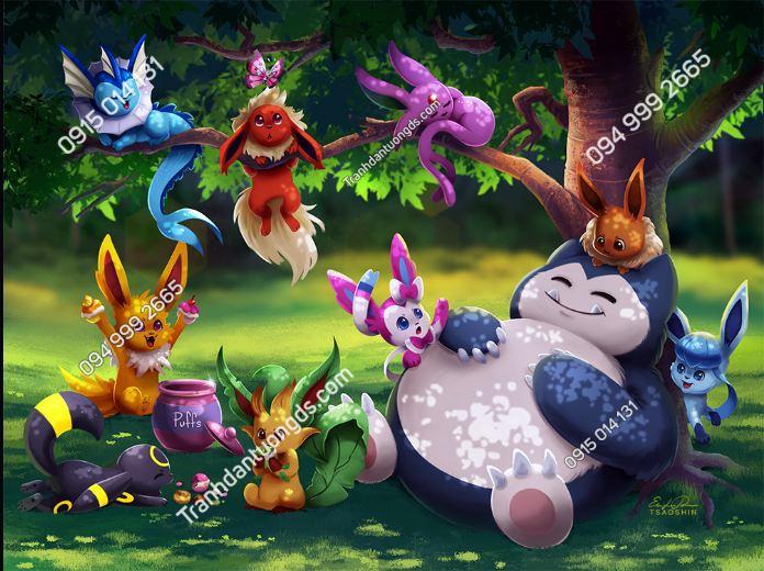 Tranh dán tường Pokemon group