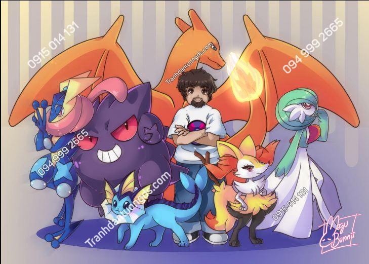 Tranh dán tường Pokemon team