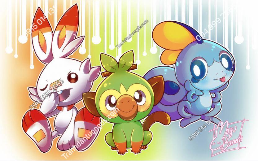 Tranh dán tường PokemonSwordShield New Starters