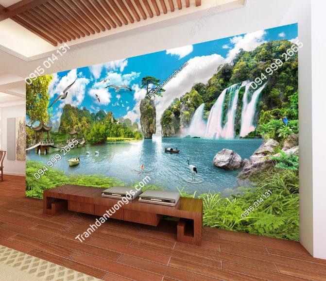 Tranh dán tường Sơn Thủy Phòng khách - DS14040839