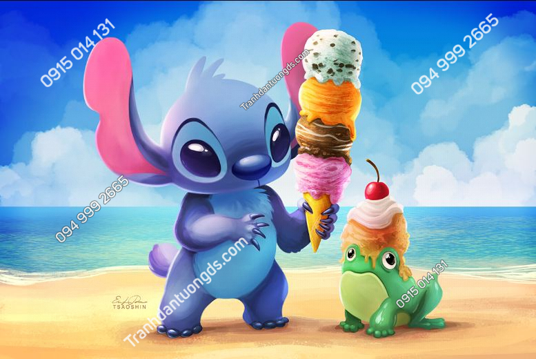 Tranh dán tường Stitch ice cream