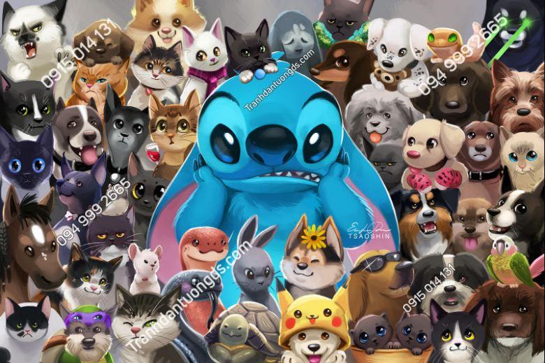 Tranh dán tường Stitch pet