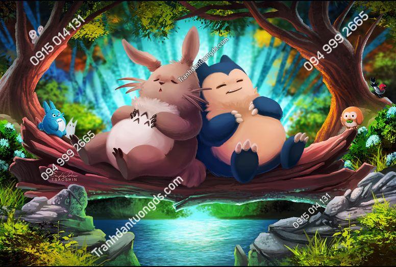 Tranh dán tường Totoro and Snorlax