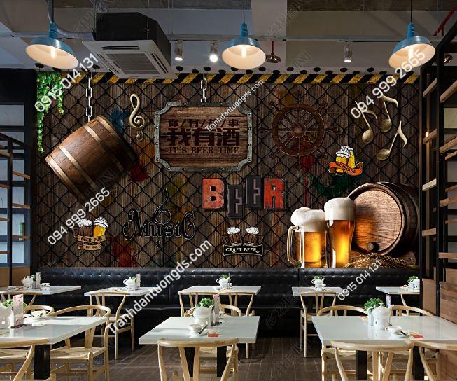 Tranh dán tường beer tường thép gai DS17833727