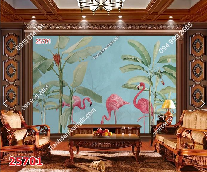 Tranh dán tường chuối và hồng hạc 25701 DEMO