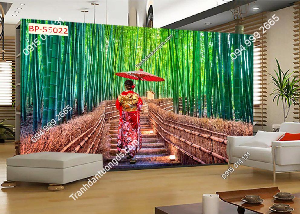 Tranh dán tường cô gái nhật trên đường vào rừng tre 55022