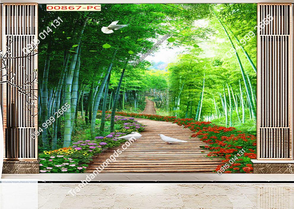 Tranh dán tường con đường hoa qua rừng tre 00867