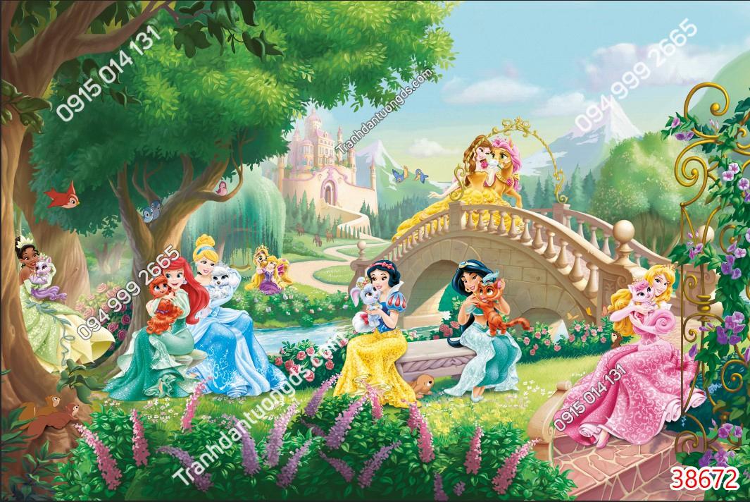 Tranh dán tường công chúa chơi trong rừng 38672 demo