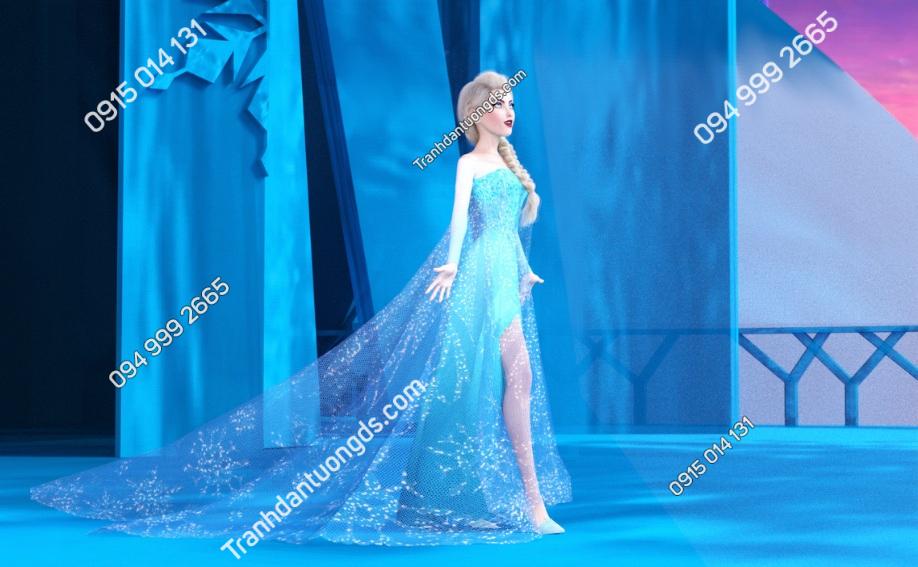 Tranh dán tường công chúa elsa trong lâu đài DVA 01