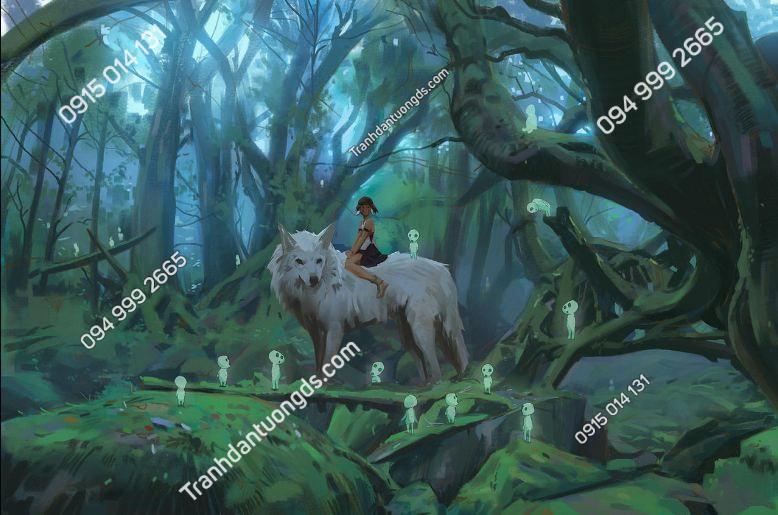 Tranh dán tường công chúa mononoke 2
