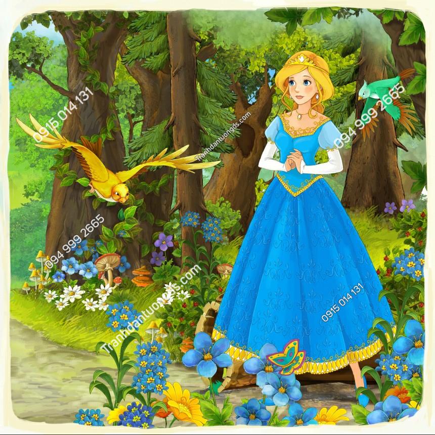 Tranh dán tường công chúa trong rừng - 10824 demo